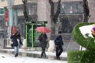 Cyclone brings snow to Yerevan