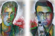 Ապրիլյան պատերազմի հերոսների դիմանկարները՝ ԵՊՀ շենքի պատերին