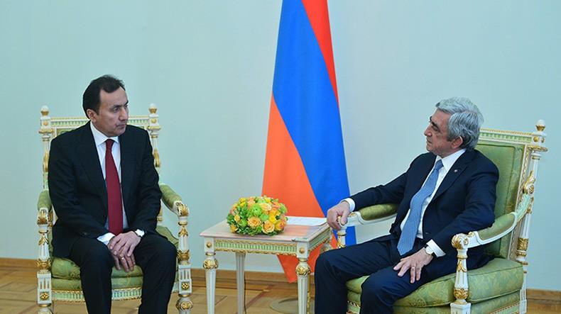 Президент Армении обсудил с новым послом Таджикистана активизацию сотрудничества в рамках международных организаций