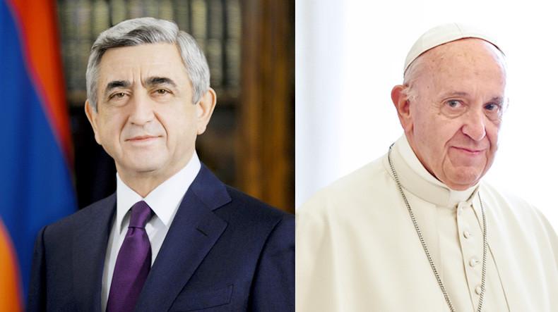 Президент Армении Серж Саргсян поздравил Папу Римского Франциска с 5-летием понтификата