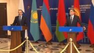 Пресс-конференция председателя коллегии ЕЭК Тиграна Саркисяна и премьера Казахстана Карима Масимова